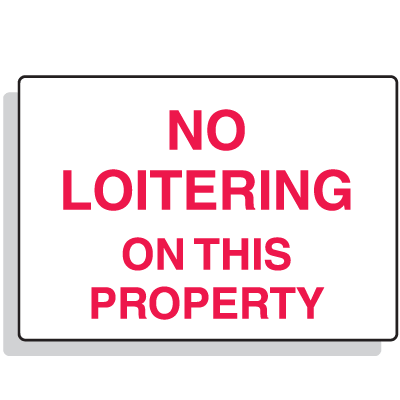 No Loitering On This Property Security Signs
