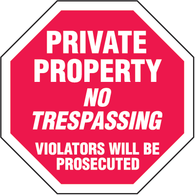 Security Stop Signs- Private Property No Trespassing