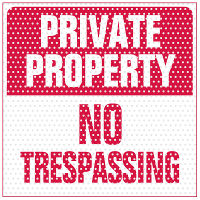 See Thru Security Labels - Private Property No Trespassing