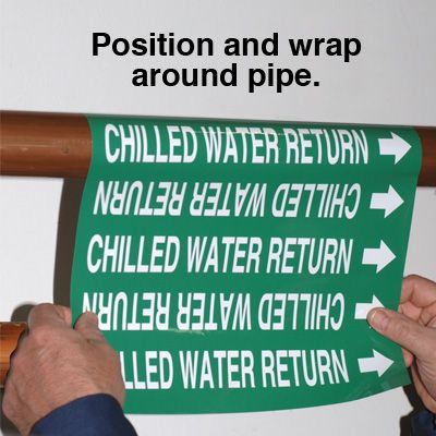 Self-Adhesive Wrap Around Pipe Labels - Chilled Water Return