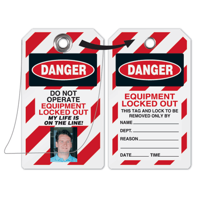 Self Laminating Employee Photo Lockout Tags - Danger Do Not Operate Equipment Tagged Out