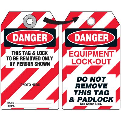 Self-Laminating Employee Photo Lockout Tags- Danger This Tag & Lock