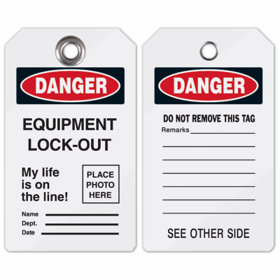 Self-Laminating Photo Lockout Tag - Equipment Lock Out