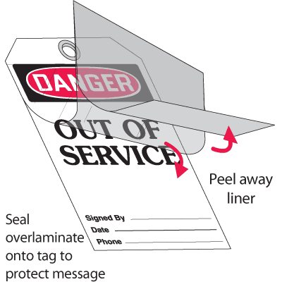 Self-Laminating Tags - Danger Out Of Service