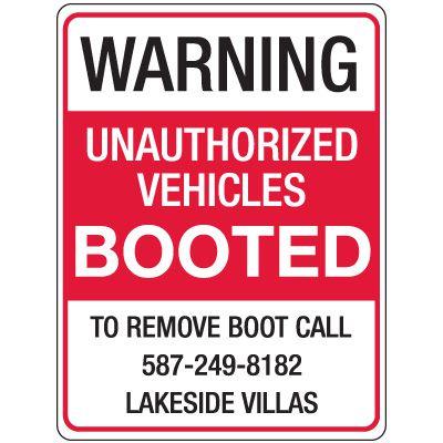 Semi-Custom Auto Boot Warning Signs