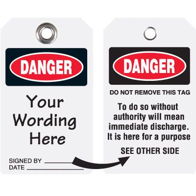 Custom Danger Discharge Heavy Duty Plastic Tag