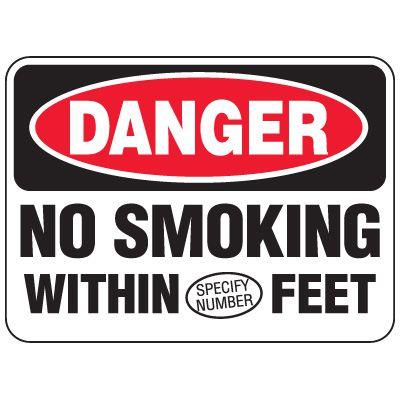 Semi-Custom Heavy-Duty Hazardous Work Site Signs - Danger No Smoking