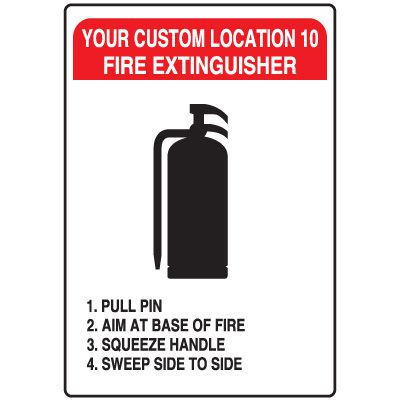 Semi-Custom Fire Extinguisher PASS Signs