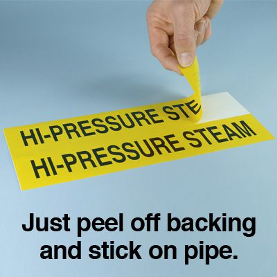 Seton Code™ Economy Self-Adhesive Pipe Markers - Domestic Hot Water