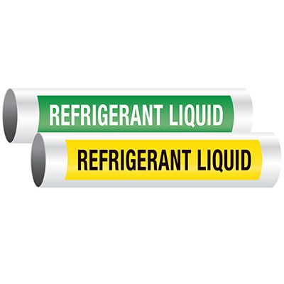 Seton Code™ Economy Self-Adhesive Pipe Markers - Refrigerant Liquid