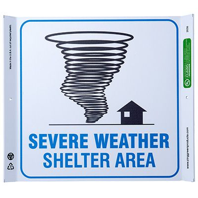 Severe Weather Shelter Corner Sign