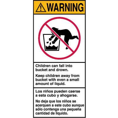 Warning! Children Can Fall Into Bucket And Drown Shipping Labels