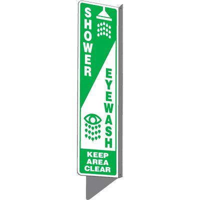 Shower / Eyewash Keep Area Clear - 2-Way Sign