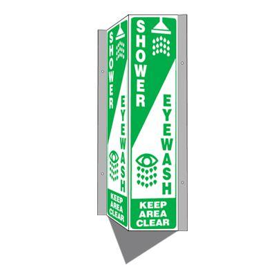 Shower / Eyewash Keep Area Clear - 3-Way Sign
