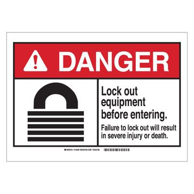 Brady ANSI Sign - Danger - Lockout Equipment Before Entering - Self Sticking Polyester - Part Number - 144490 - 1/Each