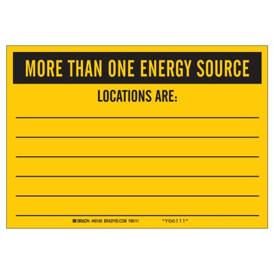 Brady Lockout Sign - MORE THAN ONE ENERGY SOURCE - Up to 6 Sources - Part Number - 60180 - 1/Each