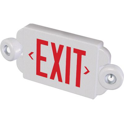 Compact Exit Sign With Side Mounted Emergency Lights
