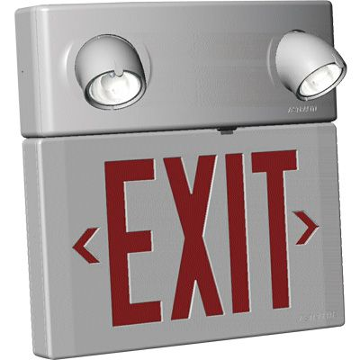 Combination UL 924 Exit Sign With Top Mounted Emergency Lights
