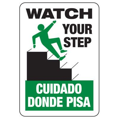 Bilingual Watch Your Step - Industrial Slip and Trip Sign