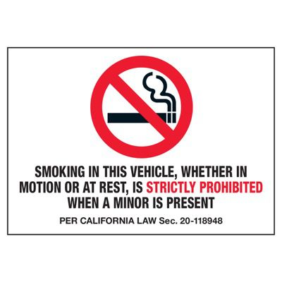 Smoking In Vehicle Is Prohibited - No Smoking Decals