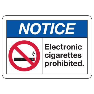 No Smoking Signs - Notice Electronic Cigarettes Prohibited