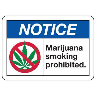 No Smoking Signs - Notice Marijuana Smoking Prohibited