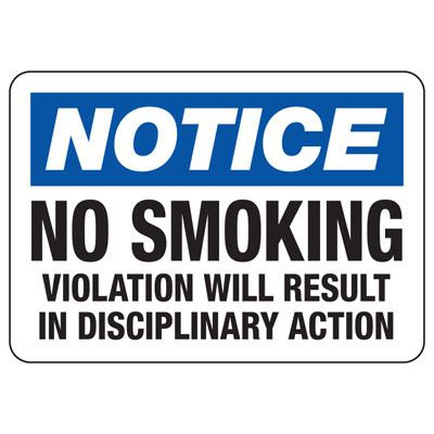 No Smoking Signs - Notice No Smoking Violation