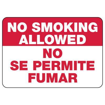 Bilingual No Smoking Signs - No Smoking Allowed