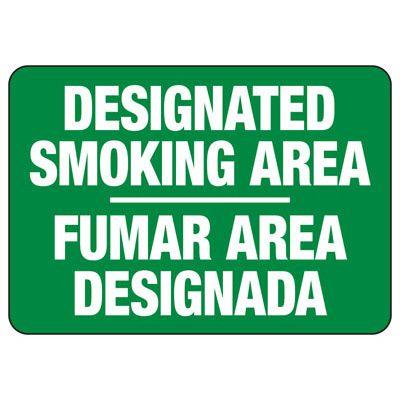 Bilingual No Smoking Signs - Designated Smoking Area