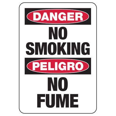 Bilingual Danger No Smoking Peligro - Industrial Smoking Signs