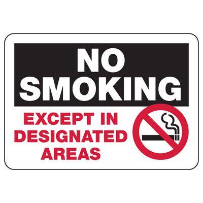 No Smoking Except In Designated Areas - Industrial Smoking Signs