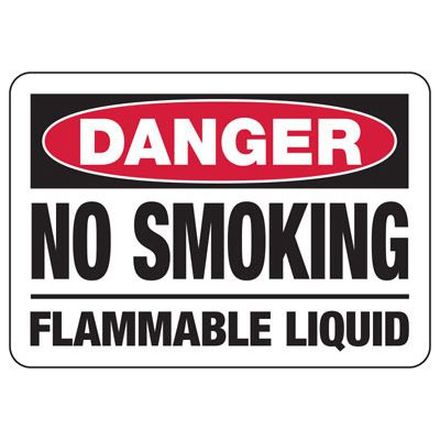Danger No Smoking Flammable Liquid - Industrial Smoking Signs