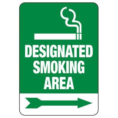 Designated Smoking Area (Right Arrow) - Industrial Smoking Signs