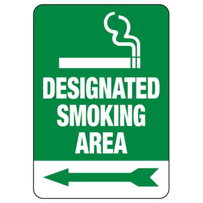 Designated Smoking Area (Left Arrow) - Industrial Smoking Signs