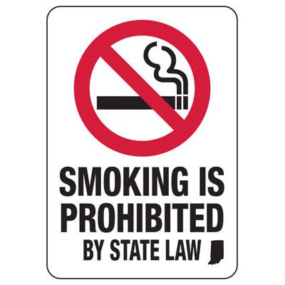 Indiana Smoke Free Sign- Smoking Prohibited By State Law