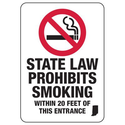 North Dakota No Smoking Signs - State Law Prohibits Smoking Within 20 Feet Of This Entrance