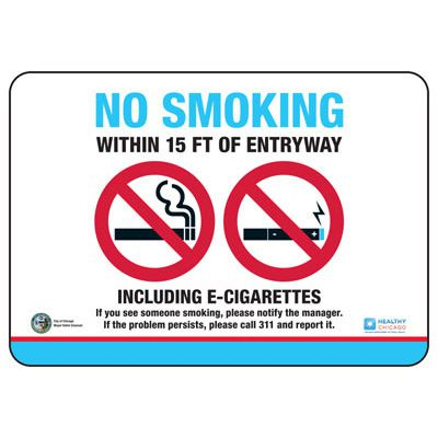 Chicago Smoke-Free Electronic Cigarette Policy Signs