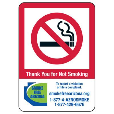 State Smoke-Free Law Signs - AZ No Smoking