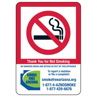 State Smoke-Free Law Signs - AZ No Smoking 20 Ft