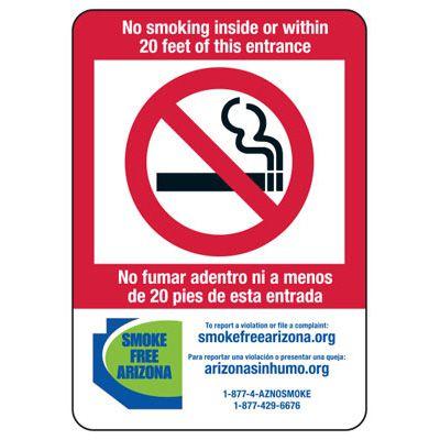 State Smoke-Free Law Signs - AZ No Smoking 20 Ft (Bilingual)