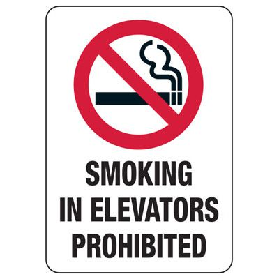 State Smoke-Free Law Signs - ID No Smoking In Elevators