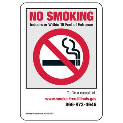 State Smoke-Free Law Signs - IL No Smoking Indoors Or 15 Ft