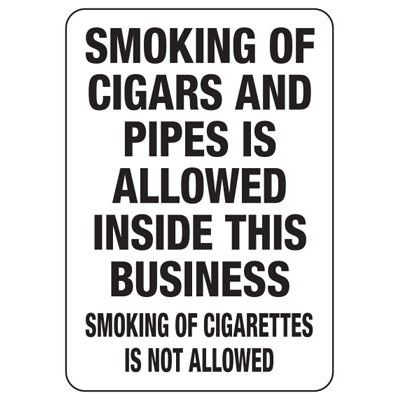 State Smoke-Free Law Signs - NE Smoking Cigars Pipes Allowed