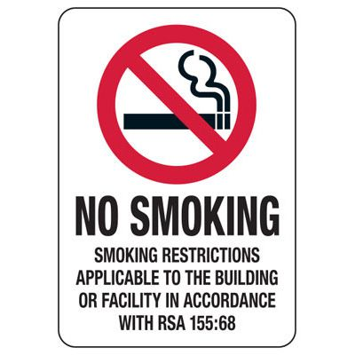 State Smoke-Free Law Signs - NH No Smoking RSA 155:68