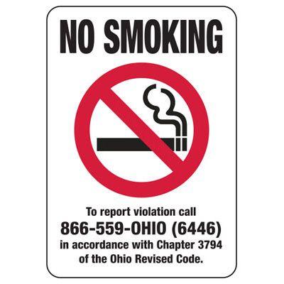 Ohio Smoke-Free Signs- No Smoking