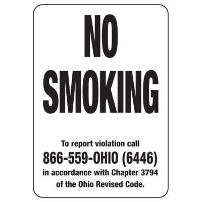 Ohio Smoke-Free Signs- No Smoking