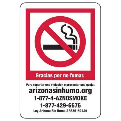 State Smoke-Free Air Law Signs- Gracias Por Not Fumar Para Reportar Una Violacion O Presentar Una Queja: