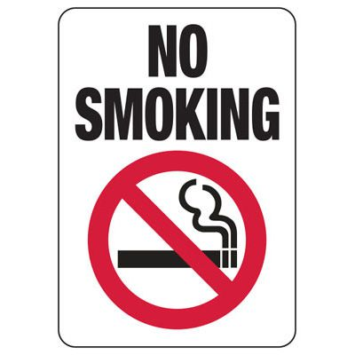 No Smoking Signs - Aluminum or Plastic Sign (w/Graphic)