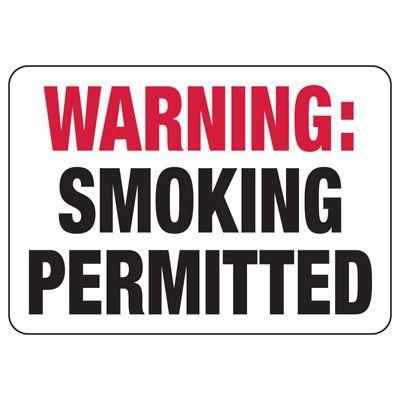 Delaware / Idaho Warning Smoking Permitted Sign