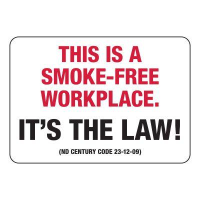 North Dakota Smoke-Free Workplace Sign